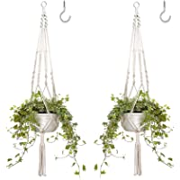 H HOME-MART Macrame Plant Hangers with 2 Hooks,Indoor Hanging Planter Basket Flower Pot Holders Rope, for Patio, Window…
