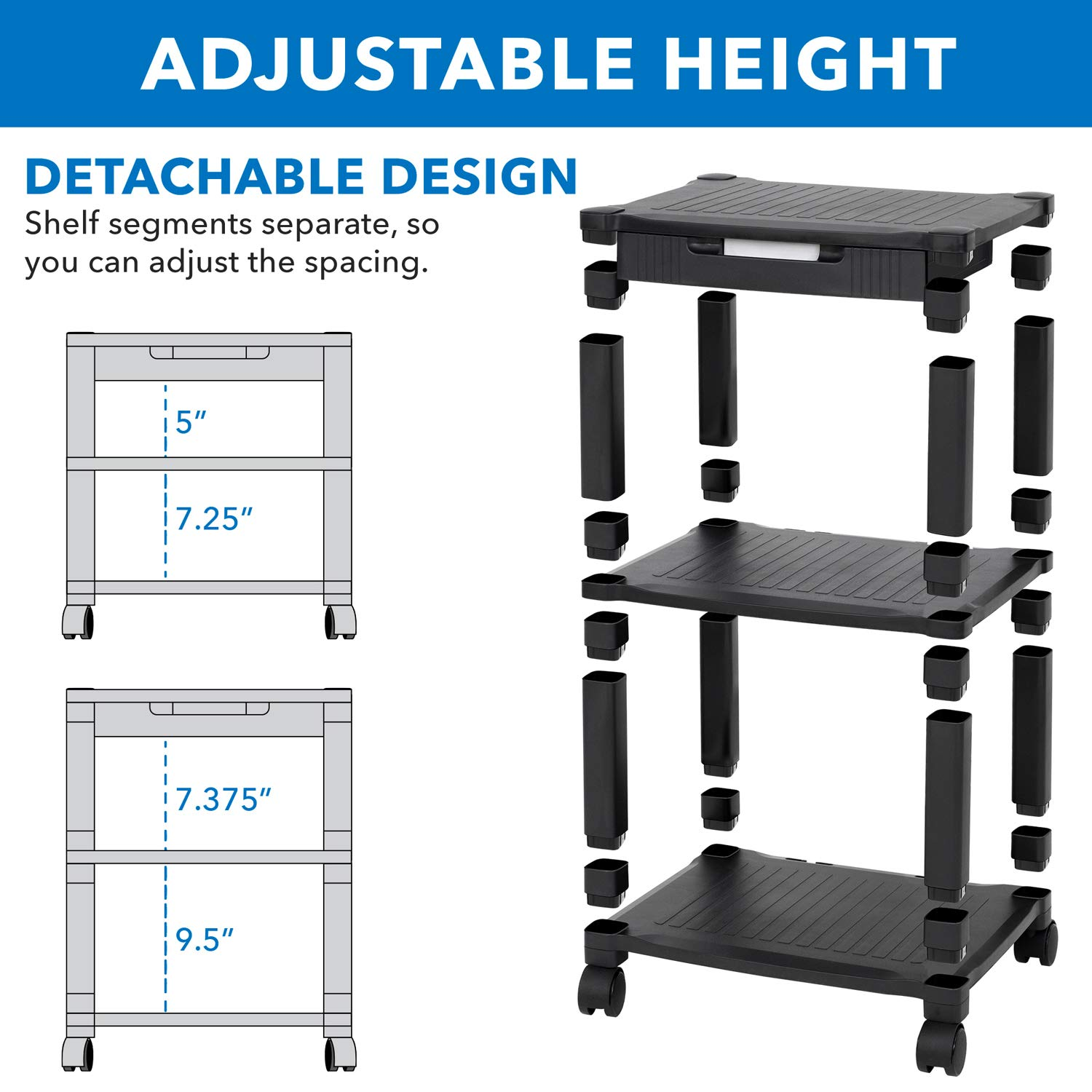 3D Printer Media Cart with Storage Black 3 Shelf Height Adjustable with 4 Swivel Wheels and Cable Management Mobile Printer Stand with Drawer AV Cart MOUNT IT 3 Tier