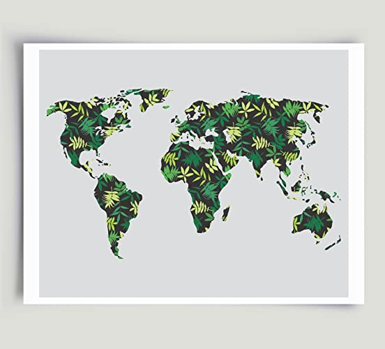 Amazon world map tropical palm leaf art green and black world map tropical palm leaf art green and black unframed paper print gumiabroncs Gallery