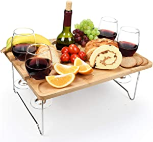 Tirrinia Outdoor Wine Picnic Table, Large Folding Portable Bamboo Snack & Cheese Tray with 4 Wine Glasses Holder for Concerts at Park, Beach, Ideal Wine Lover Gift