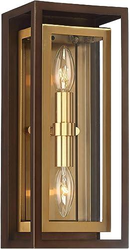 Kie Modern Outdoor Wall Light Fixture Oil Rubbed Bronze Brass 14″ Double Box
