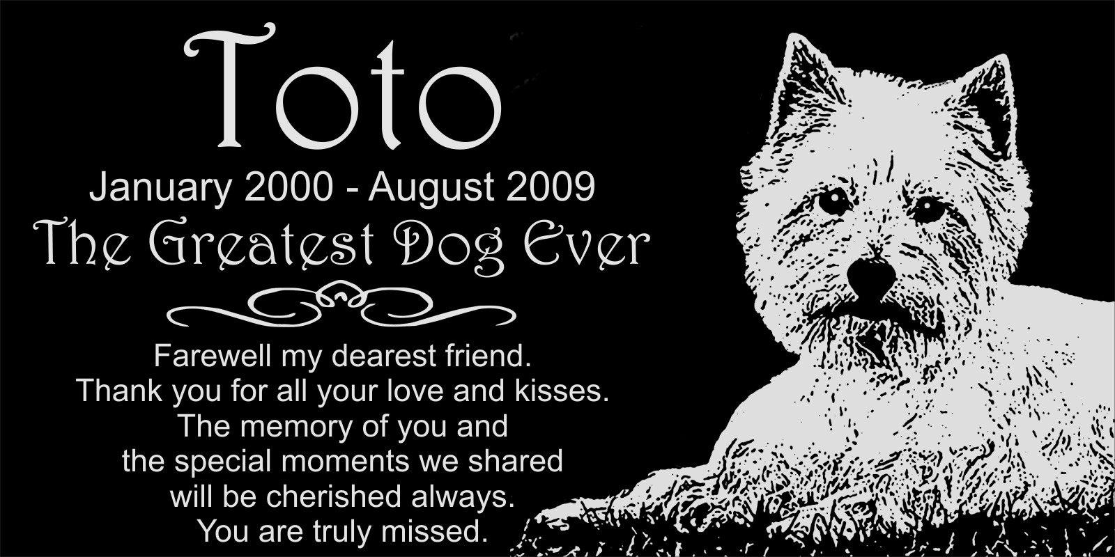 Personalized West Highland White Terrier Westie Dog Pet Memorial 12''x6'' Engraved Black Granite Grave Marker Head Stone Plaque TOT1