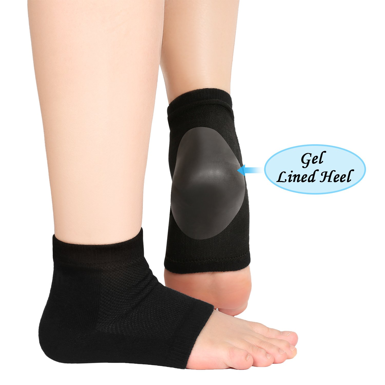 Bememo Soft Ventilate Gel Heel Socks Open Toe Socks for Dry Hard Cracked Skin Moisturizing Day Night Care Skin, 3 Pairs (Black) by Bememo (Image #4)