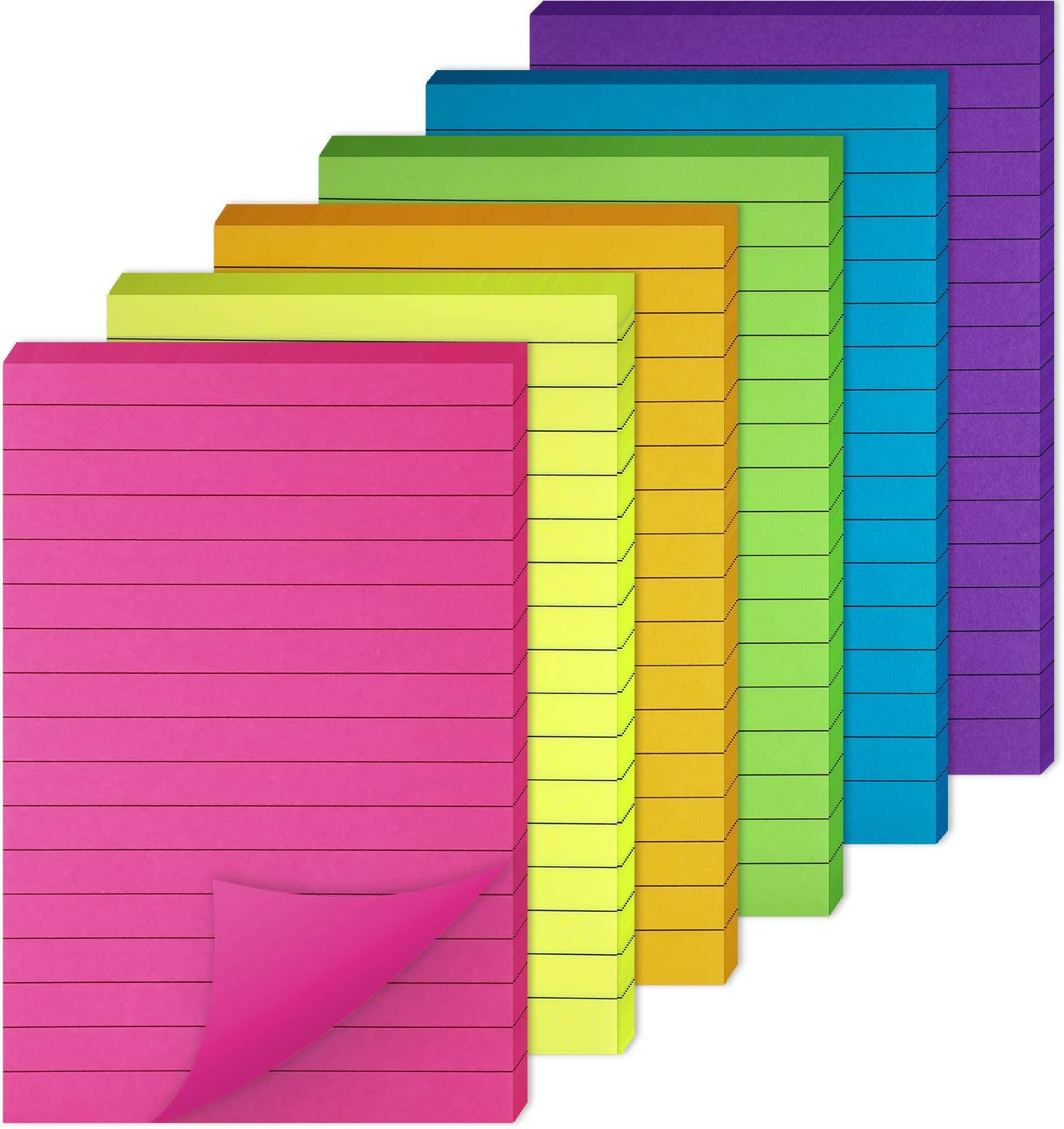 6 Pads, 6 x 4 Inch Sticky Notes Colorful Lined Self-Sticky Note Pads for Home School Office 6 Bright Colors Stickies