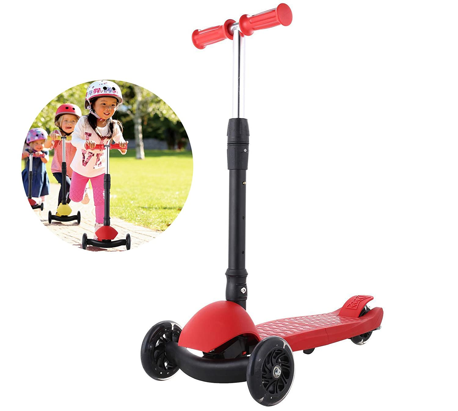 Mewalker 3 Wheel Kick Scooter Adjustable Height Mini Scooter Foldable Scooters With LED Flash Up Wheels For Kids Child Children Boys Girls Play Outdoor?Max Weight is 50kg/110lbs,US STOCK?