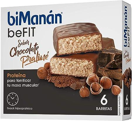 BiManán beFIT - Barritas de Proteína Sabor Chocolate Praliné, para Tonificar tu Masa Muscular - Caja de 6 unidades