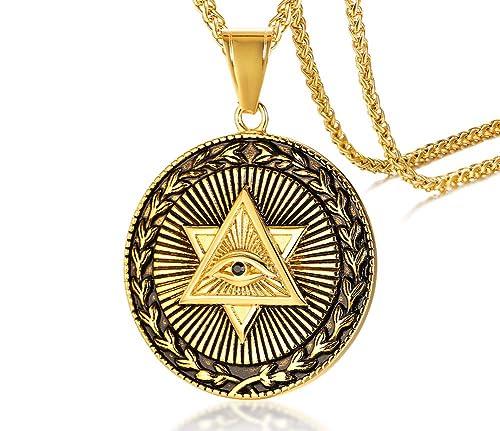 nuevo concepto 9183f a26d4 MEALGUET Collar con Colgante de pirámide de Acero Inoxidable Chapado en Oro  con el Ojo Que Todo lo ve Illuminati Eye of Providence con Cadena de 61 cm