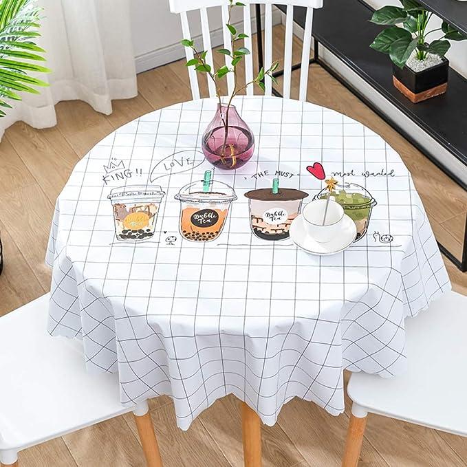 CAREXY Mantel Redondo PVC,plastico Vinilo Antimanchas Impermeable Resistentes Al Calor Mantel De Hule para Comedor Jardín Salón Banquete,F-100cm: Amazon.es: Hogar