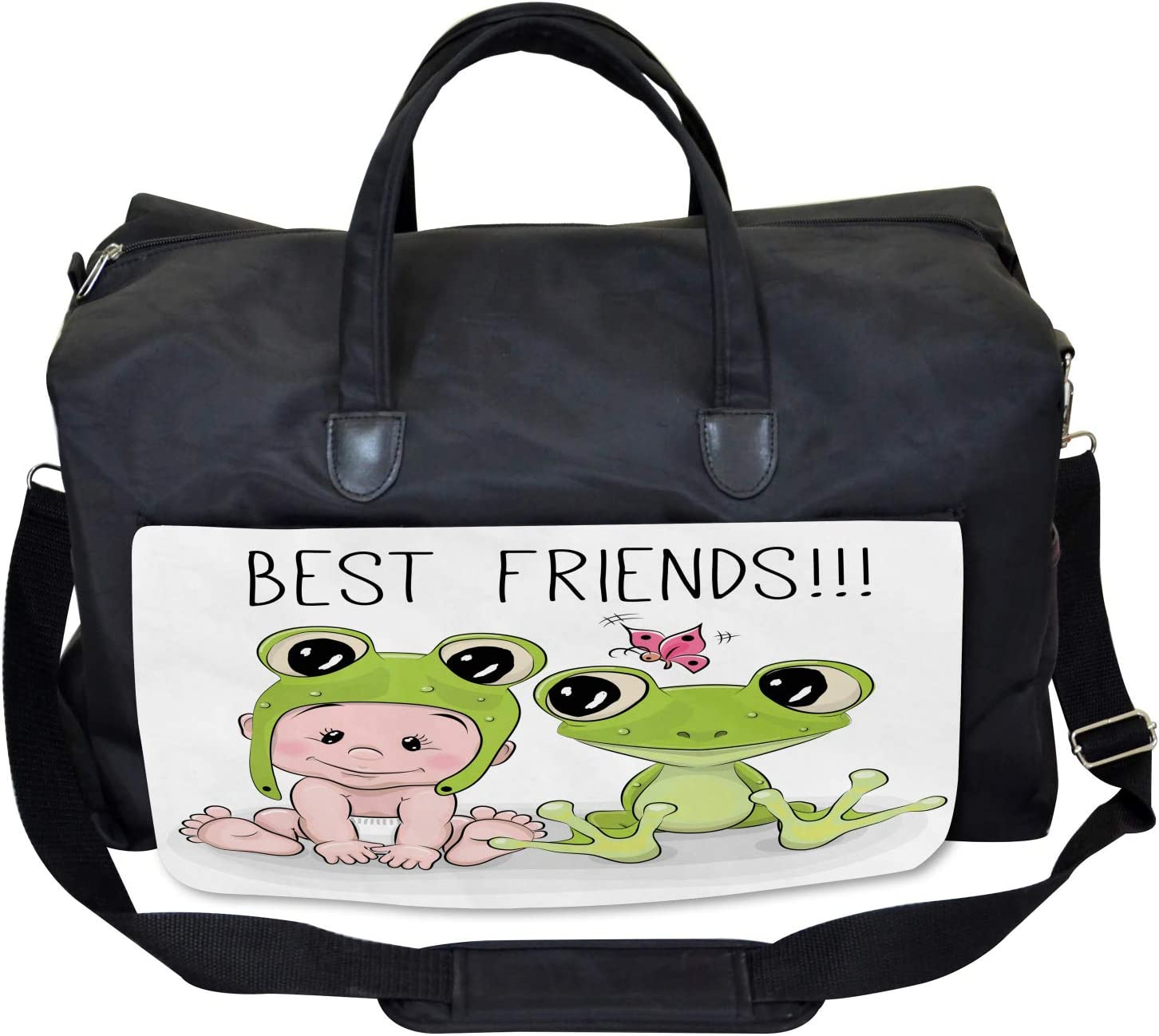 Baby Frog Love Friends Ambesonne Kids Gym Bag Large Weekender Carry-on