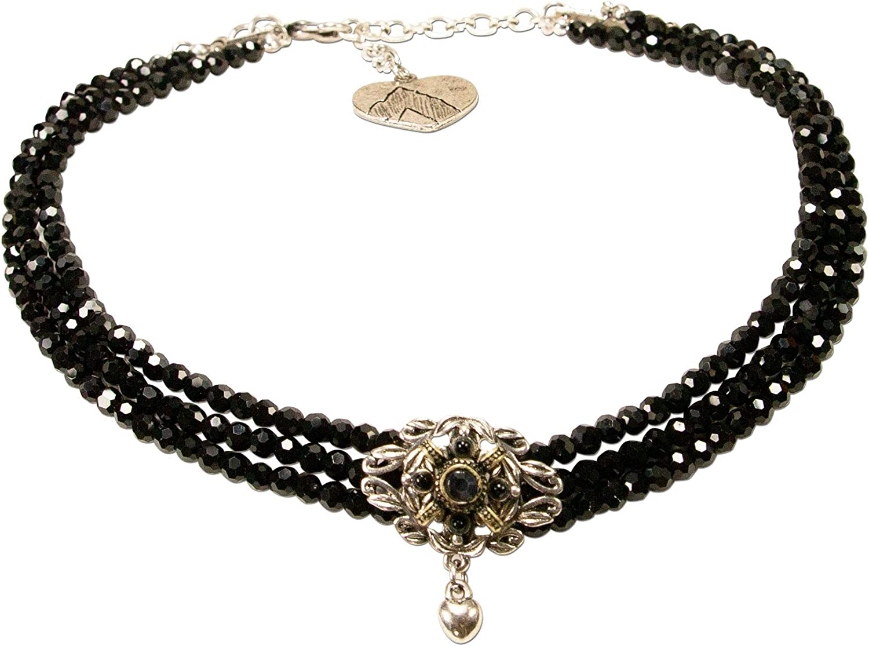Alpenflüstern DHK235 - Collar de Perlas para Traje Tradicional Marino, Elegante Joya para Mujer, Cadena Tirolesa Negra