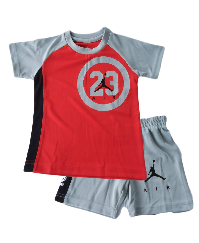 NIKE Air Jordan Toddler Boys' 2 Piece Set (3T, Grey)