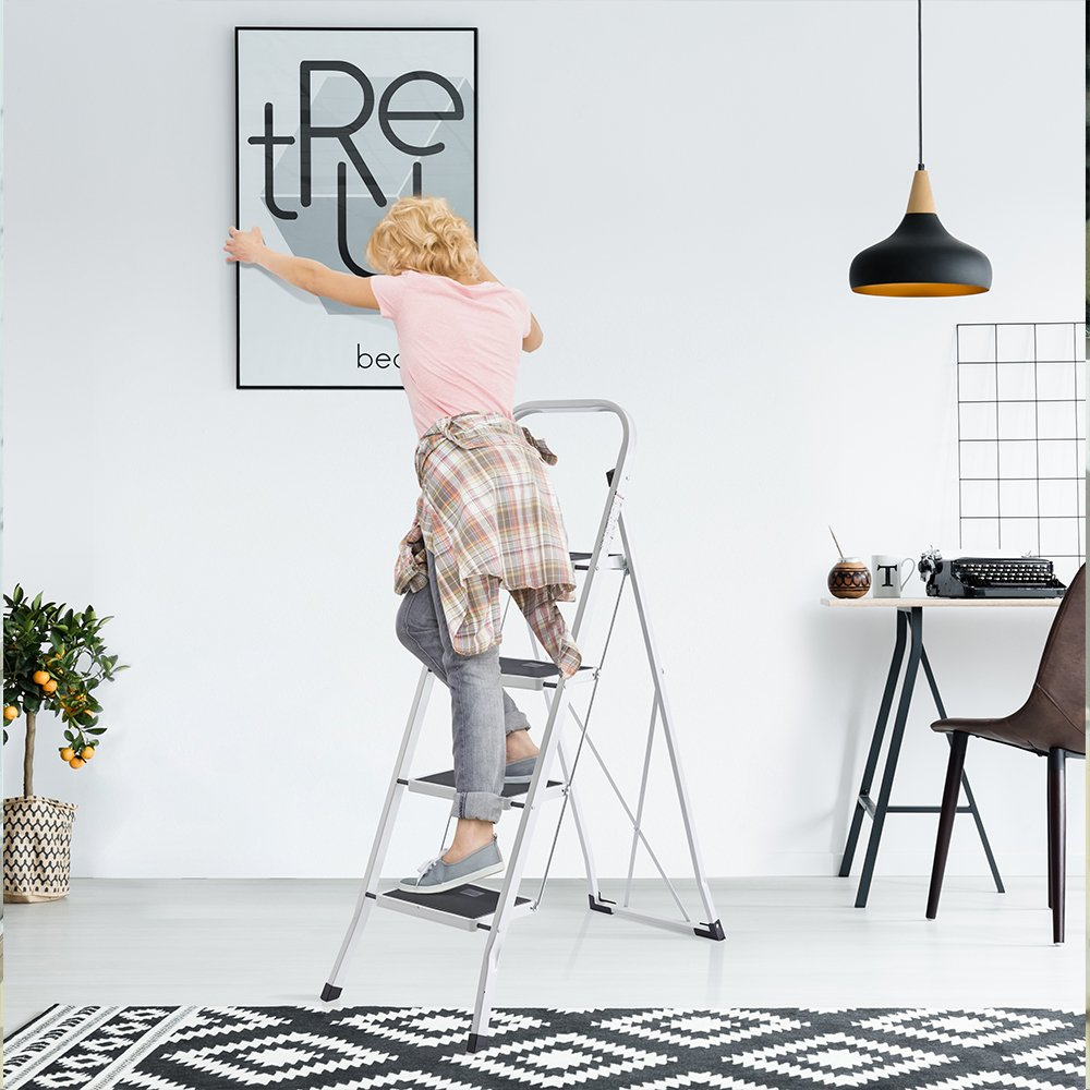 Delxo Folding 4 Step Ladder Ladder With Convenient Handgrip Anti-Slip Sturdy and Wide Pedal 330lbs Portable Steel Step Stool White and Black 4-Feet (WK2040-3) by Delxo (Image #4)