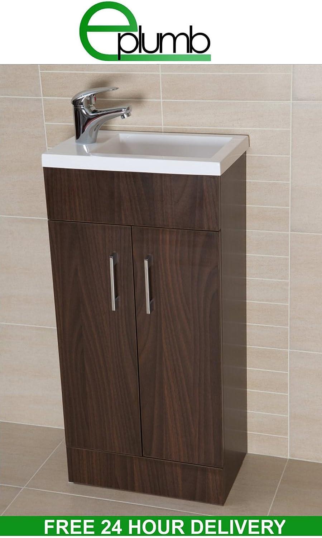 Walnut bathroom furniture - Walnut Square Basin Bathroom Furniture Cloakroom Compact Vanity Unit 400 X 250 Amazon Co Uk Kitchen Home