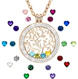 ♥I Love You to The Moon and Back♥Family Tree of Life Created Birthstone Floating Charm Memory Lockets Pendant Necklace for Mom Grandma Gifts