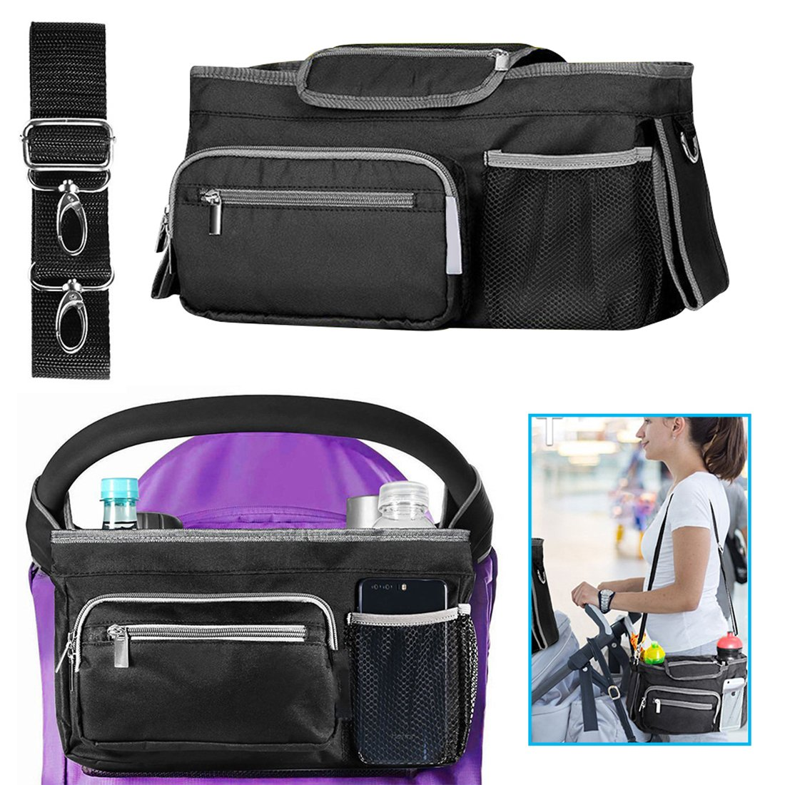 Baby Pram Buggy Stroller Organizer, BBgoto Stroller Organizer with Pockets/Bottle Holder/ Shoulder Strap, Large Storage Capacity