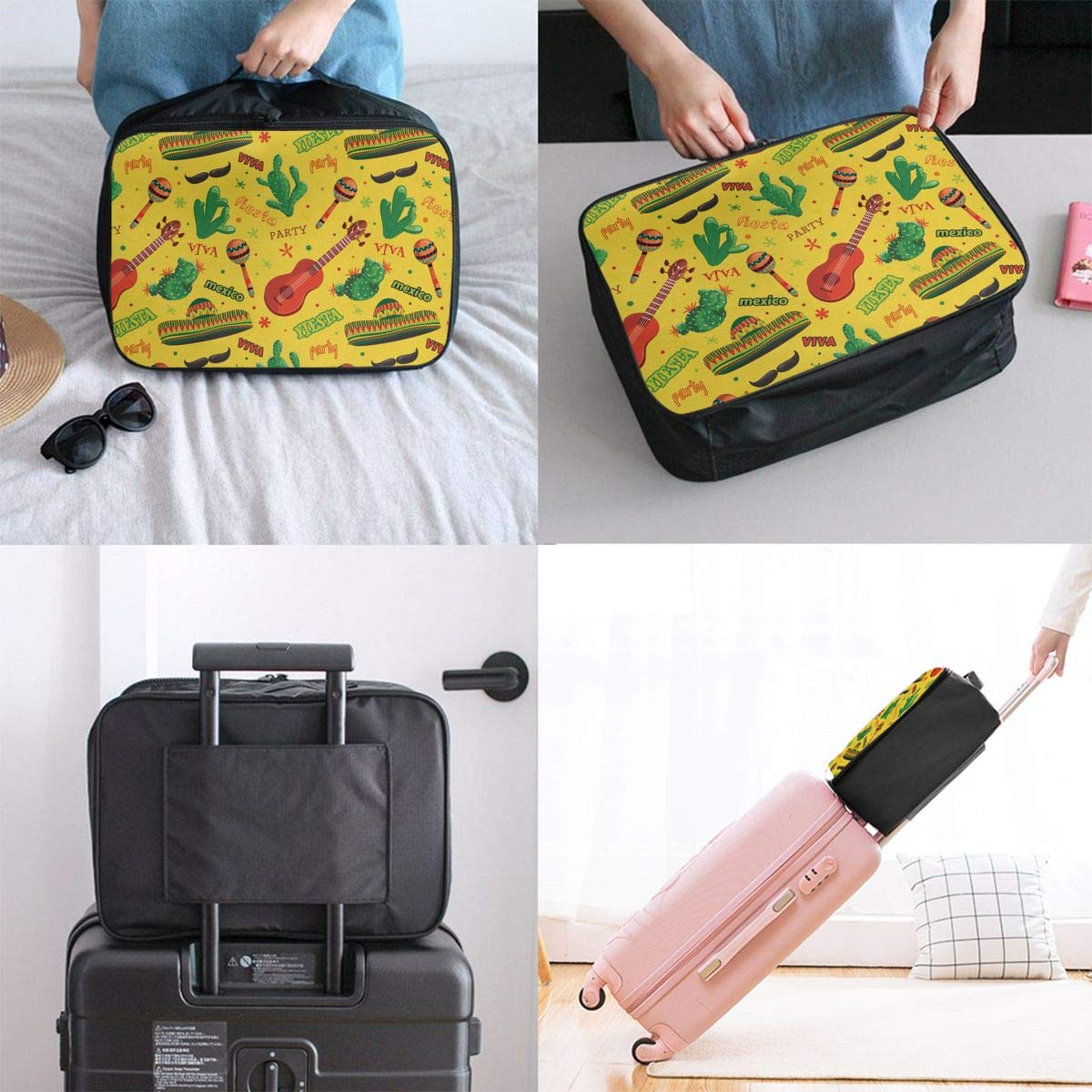 ADGAI Spanish Mexican Canvas Travel Weekender Bag,Fashion Custom Lightweight Large Capacity Portable Luggage Bag,Suitcase Trolley Bag