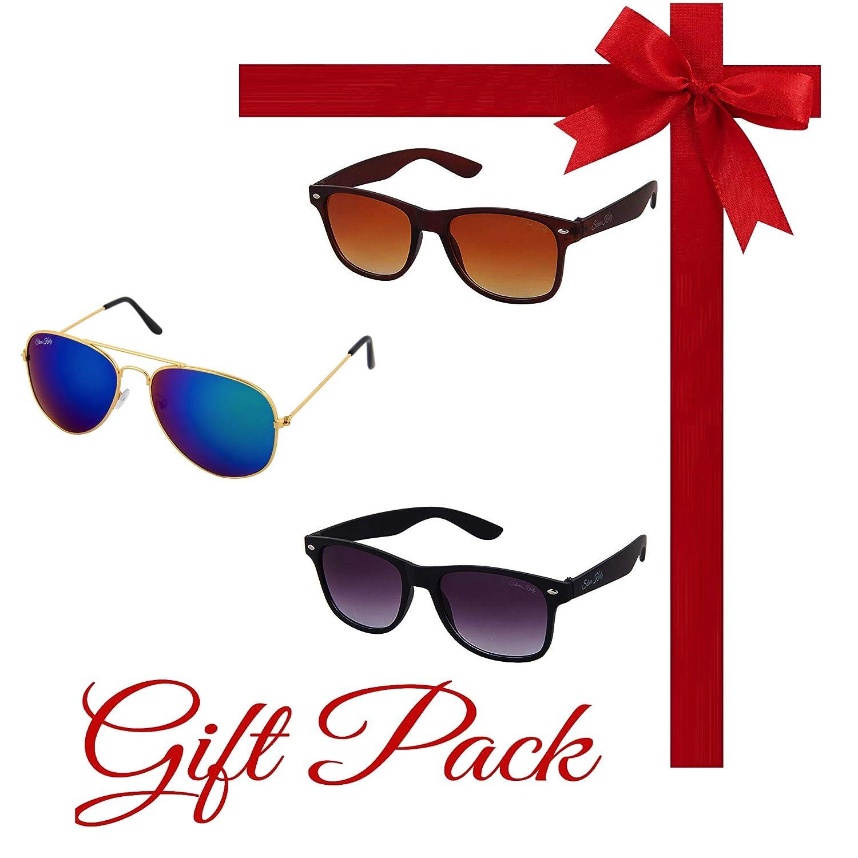 Silver Kartz Gift Pack of Best Selling Combo of Three Aviator and Wayfarer UV Protection Sunglasses kr009