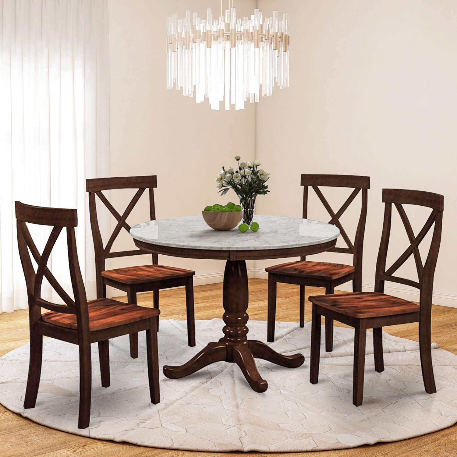 Harper&Bright Designs 5 Piece Round Dining Set with 4 Chairs Wood Dining Table Set (Espresso)