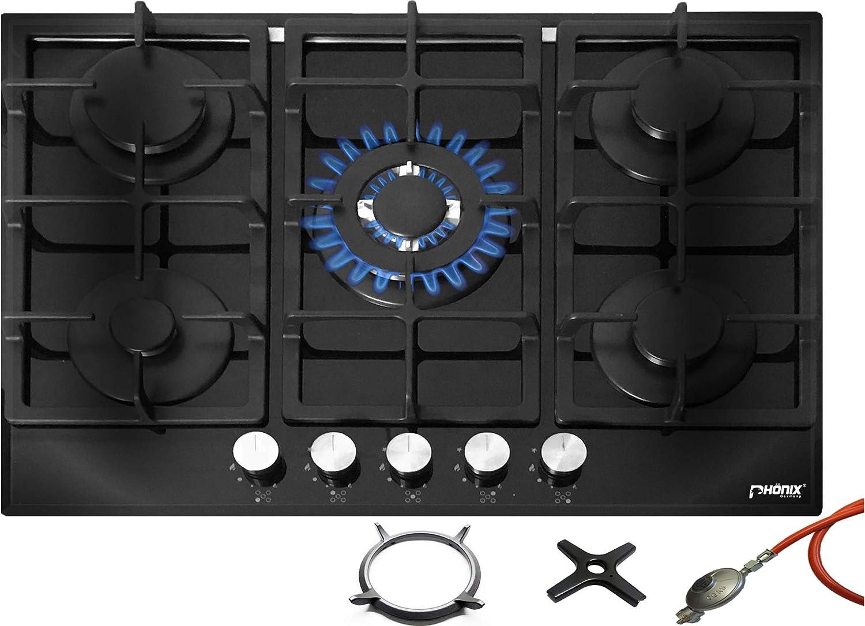 Phönix PG-701T - Cocina de gas empotrable (70 cm, cristal, 5 fuegos autosuficientes, independiente o empotrado)