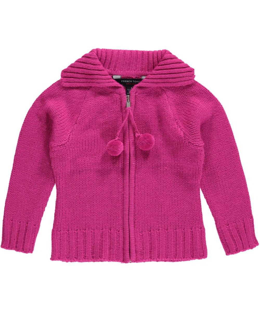 French Toast Little Girls' Pom Pom Zip Front Cardigan, Medium Pink, 6