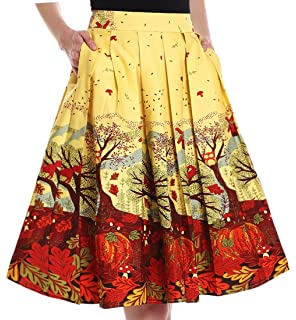 e9747f4638 Yige Women's Vintage A-line Printed Pleated Flared Skirts with Pocket
