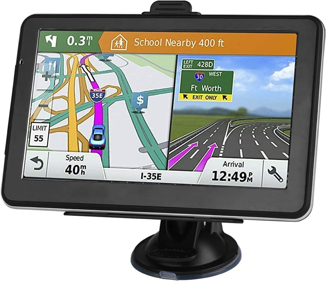GPS Navigation for Car, 7 Inch 8GB HD Touch Screen Built-in 256MB GPS Navigation System Spoken Turn-by-Turn Directions for Car Vehicle GPS Navigator with (Lifetime Map Update