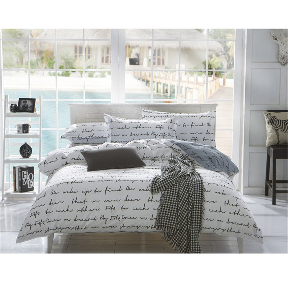 no!no! Luxurious Duvet Cover Sets With Hidden Zipper Closure-3 Pieces Ultra Soft And Cozy Hypoallergenic Microfiber,Love Letter Pattern Printed-Gray/White(Queen/Full Size) by no!no! (Image #1)