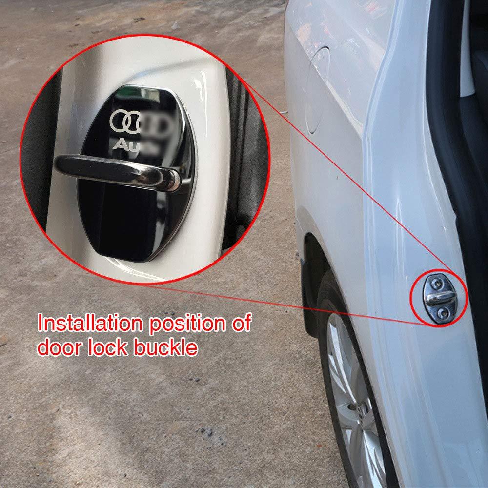 YYD 4 ST/ÜCKE Audi Edelstahl T/ürschlossabdeckung Geeignet f/ür Audi A3 A4L A6L Q3 Q5 T/ürschlossabdeckung T/ürschloss Edelstahl Rostabdeckung,Black