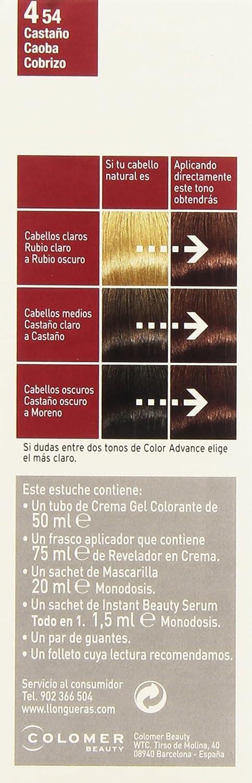 Llongueras Llong Color Advance 4.54 Castaño Caoba Cobrizo Coloración Permanente - 210 gr