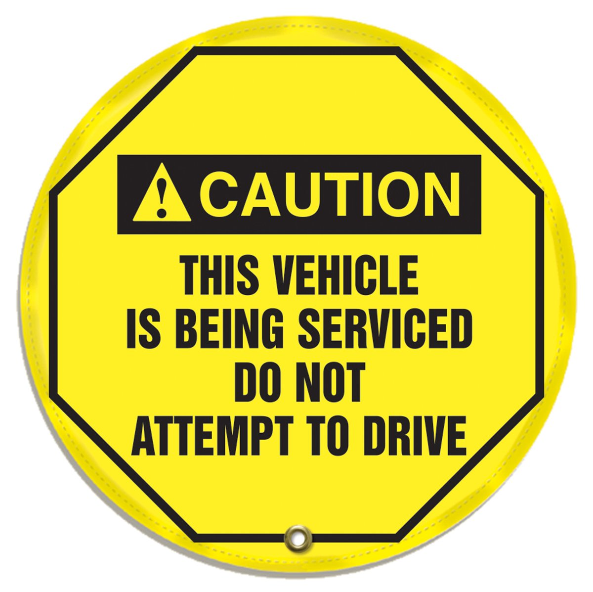 Accuform KDD727 STOPOUT Vinyl Steering Wheel Message Cover, ANSI-Style Legend''CAUTION THIS VEHICLE IS BEING SERVICED DO NOT ATTEMPT TO DRIVE'', 20'' Diameter, Black on Yellow