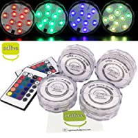 Odlive Multi Color Waterproof 10 LEDs RGB Submersible LED Light with Remote Controller,Flashing Bright lighting for Wedding/Party/Christmas/Swimming Pool/Fish Tank Decorations,set of 4