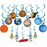 Konsait Solar System Whirls(14Pack), Outer Space Hanging Swirl Home Classroom Decor Boy Girl Kids Solar System Party Decoration Space Themed Birthday Party Favor Supplies