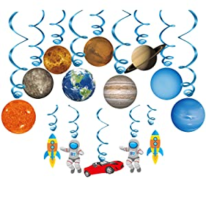 Konsait Solar System Whirls(14Pack), Outer Space Hanging Swirl Home Classroom Decor for Boy Girl Kids Solar System Party Decoration Space Themed Birthday Party Favor Supplies