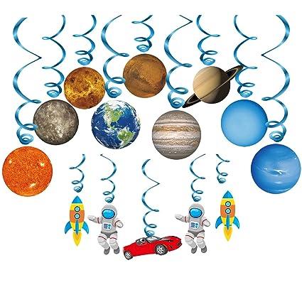 Konsait Sistema Solar decoración Colgante remolinos (14Pack), Adornos de espirales serpentinas para Infantiles Niños Bebés Habitación Techo cumpleaños ...