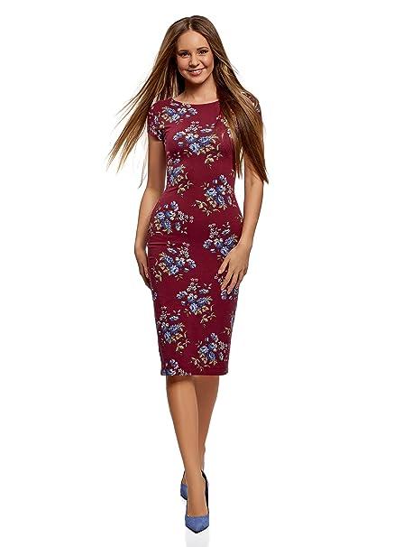 oodji Collection Mujer Vestido Midi con Escote en la Espalda, Rojo, ES 34 /