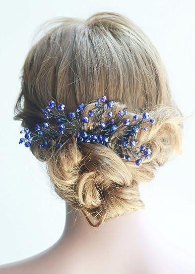 Amazon.com   Missgrace Bridal and Women Crystal Navy Blue Hair Jewelry  Wedding Blue Hair Comb Women Crystal Hair Clip Headpiece for Wedding and  Party ... de6b8ebe2d9