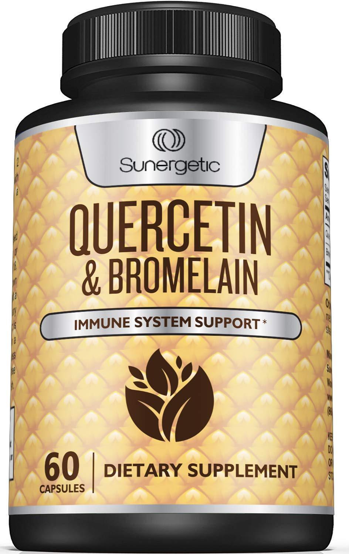 Premium Quercetin & Bromelain Supplement - Powerful Quercetin Bromelain Complex to Help Support Immune System, Cardiovascular Health & Seasonal Support - Quercetin 1000mg Per Serving - 60 Capsules