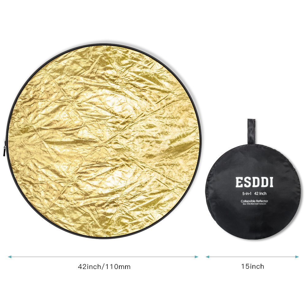 ESDDI 42 inch Light Reflector 5-in-1 Portable Collapsible Reflector Photography with Bag, Silver, Gold, White, Translucent and Black for Studio or any Photography Situation