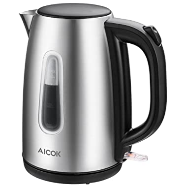 Electric Kettle 1.7L Stainless Steel Tea Kettle with British Strix Control, 1500W Fast Boiling Water Kettle, Hot Water Kettle Electric with Auto Shut-Off, BPA-Free By Aicok