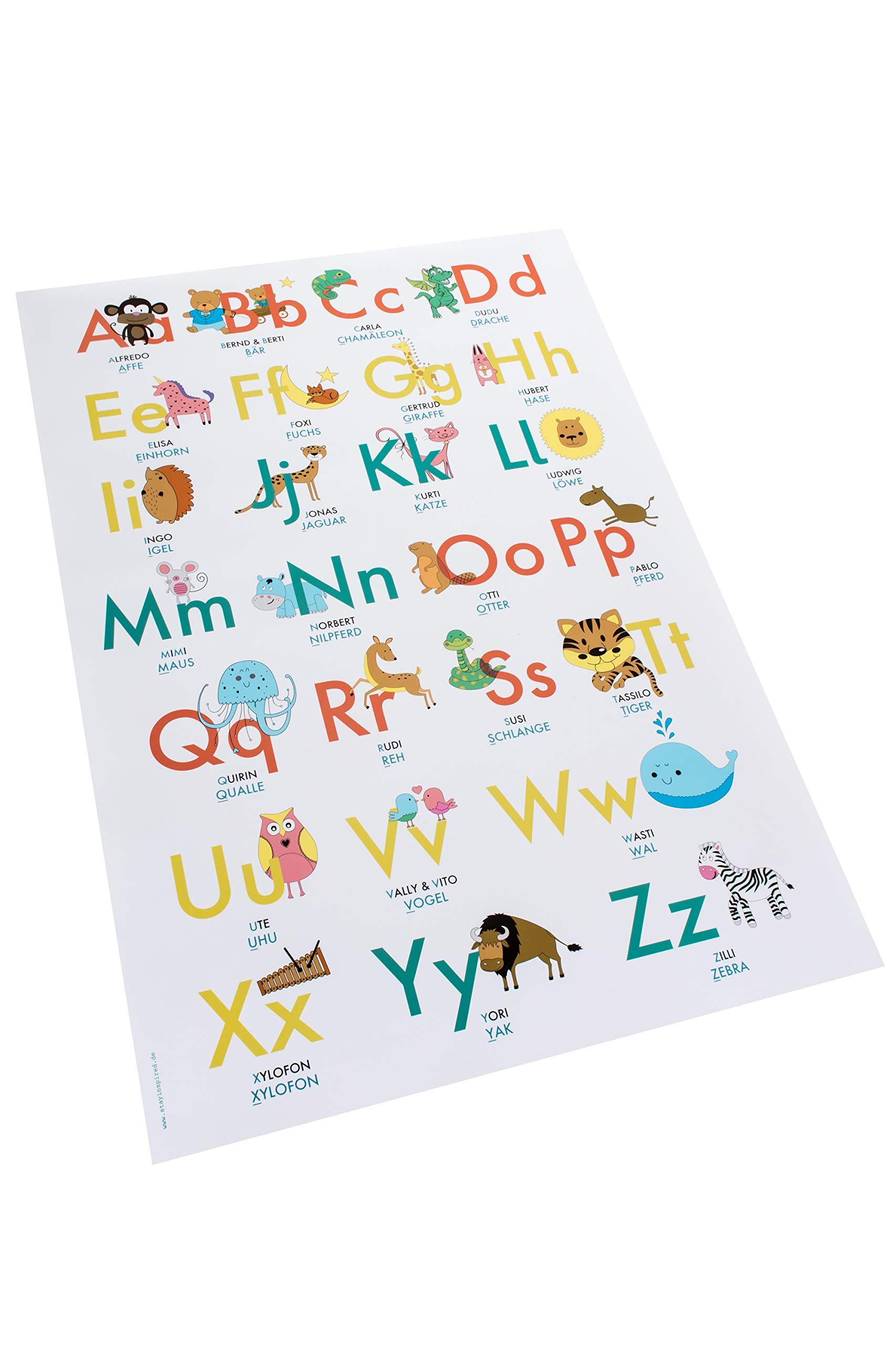 ABC Poster 20,20x20 cm   Alphabet spielerisch mit Tieren lernen ...