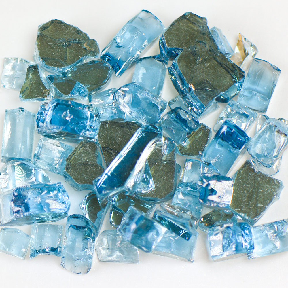 My Fireplace Glass - 25 Pound Terrazzo Chip Fireplace Glass - Size 2, 1/4 - 3/8 Inch, Blue Reflective