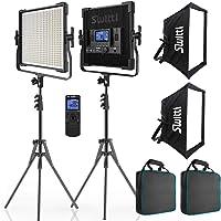 Switti 2-Packs 600 LED Video Light, Dimmable Bi-Color 3000K-8000K CRI96+ Panel Light, Photography Lighting Kit with…