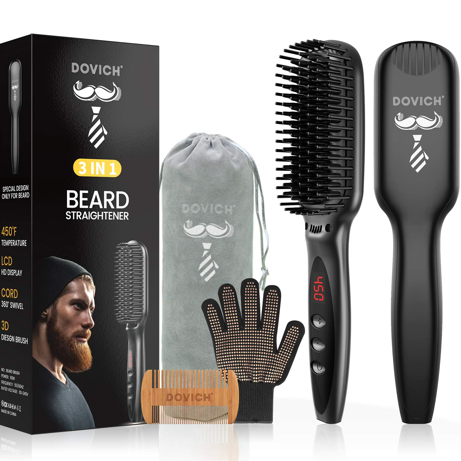 3 In 1 Beard Straightener For Men, Dovich Ceramic Heating With Anti-Scald Straightening Comb, Adjustable Temperatures With Led Display Ioinc Straightening Brush, Portable Detangling & Styling.