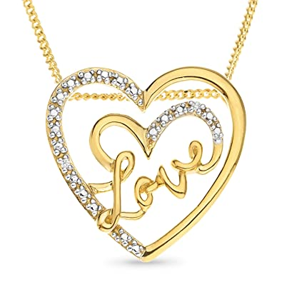 Ornami gold plated silver cz heart shape love message pendant 46cm ornami gold plated silver cz heart shape love message pendant 46cm chain mozeypictures Gallery