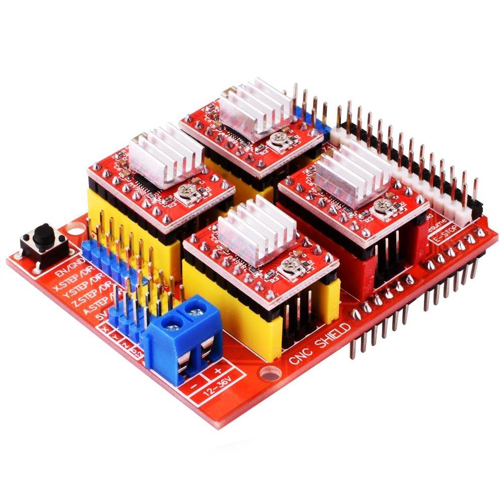 HONG111 CNC Shield V3 Expansion Board + 4Pcs A4988 Stepper Motor Driver Modules with Heatsink for Arduino V3 Engraver 3D Printer