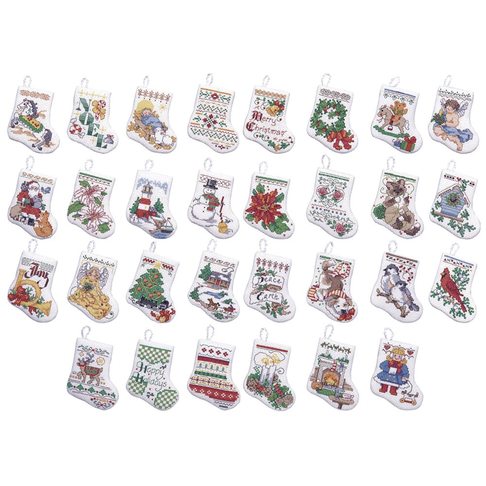 Bucilla Counted Cross Stitch Mini Ornament Kit Set of 30 86672 Christmas