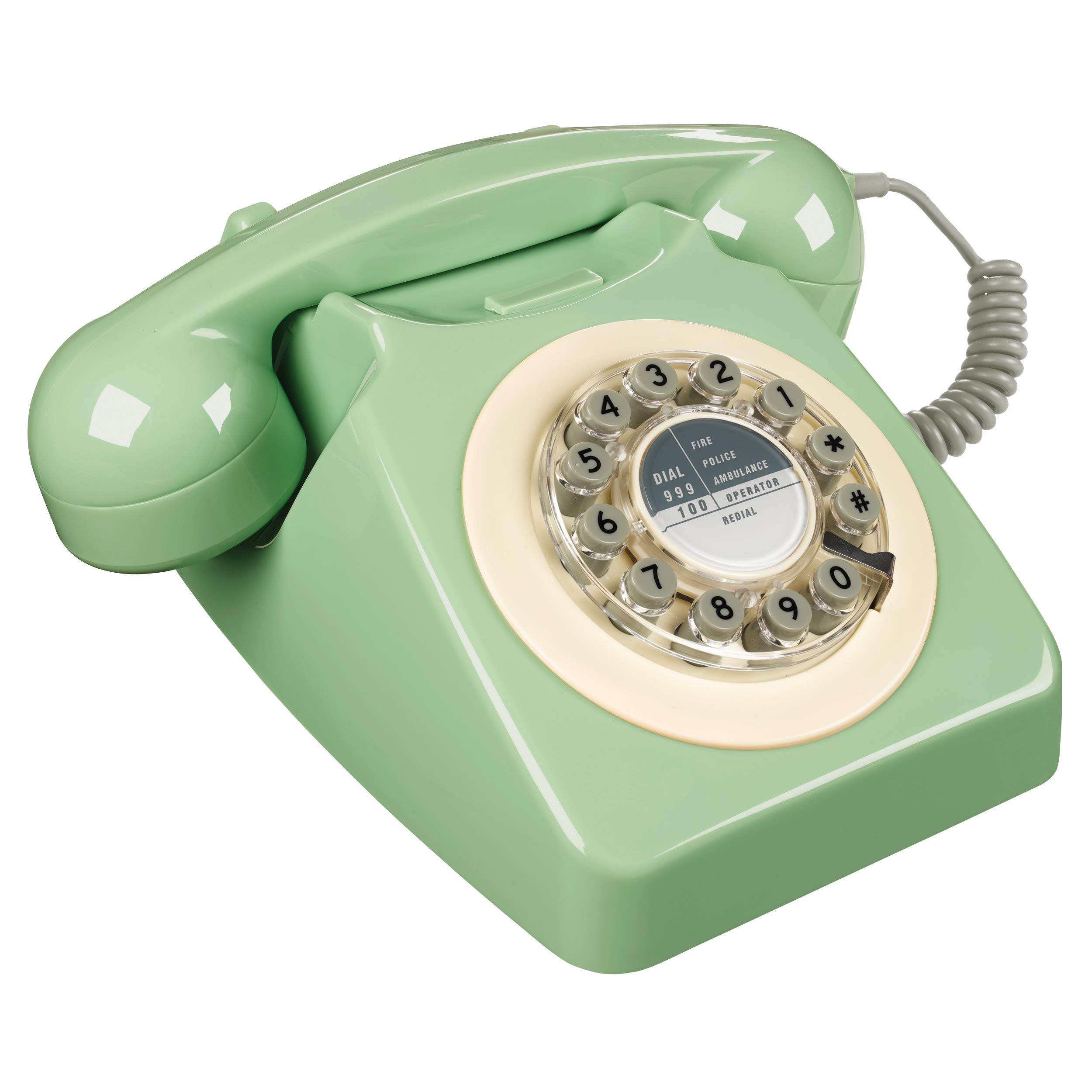 Wild Wood Rotary Design Retro Landline Phone for Home, Swedish Green