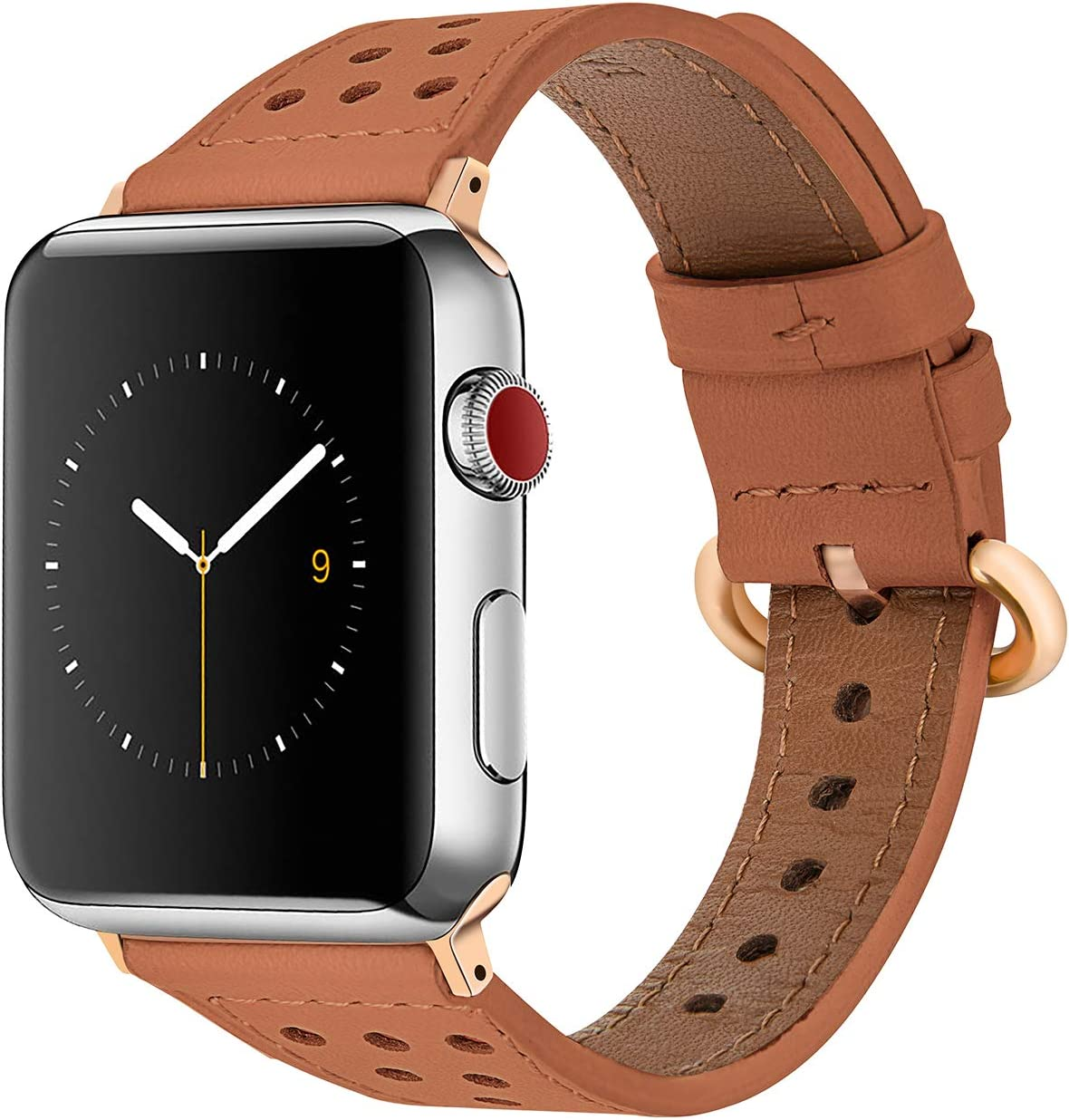 EAVAE Compatible with Apple Watch Bands 40mm 38mm, Premium Brown Leather Bands for Apple Watch Series 5 Series 4 Series 3 Series 2 Series 1 Women
