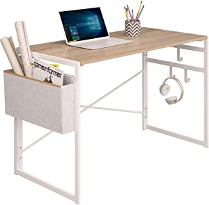 """JSB Folding Computer Desk with Storage Bag and Hook, Writing Desk Modern Industrial Work Table Laptop Desk for Home Office (39.37"""" x 19.69"""" x 29.53"""", White)"""