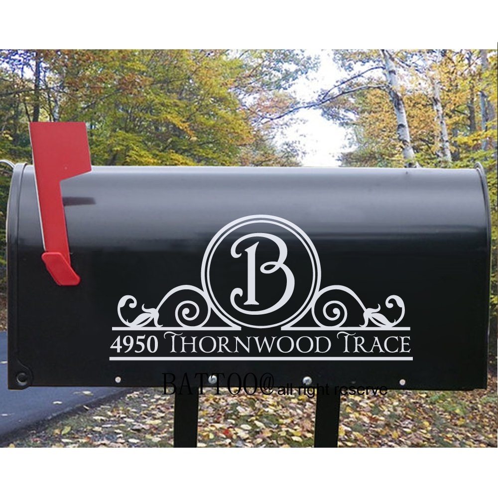 Battoo mailbox decal initial address decal fancy mailbox decoration personalized mailbox decal personalized decals 10 wide by 5 tall plus free hello door